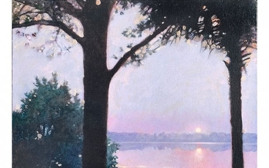 MARTIN HOFFMAN SUNSET THROUGHT THE TREES PAINTING