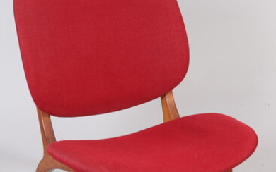 MID-CENTURY MODERN TEAKWOOD SIDECHAIR WITH BURGUNDY RED SEAT AND BACK...