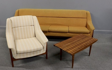 MIDCENTURY. Sofa With Arm Chair & Slatted Table
