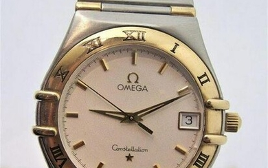 Mens S/Steel & 18k OMEGA CONSTELLATION Quatz Watch Half