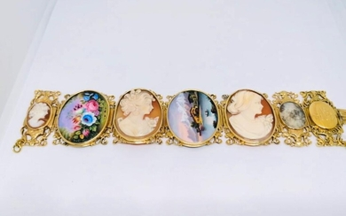 Mid 20 th gold and cameos bracelet