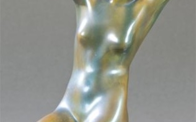Nude woman figure in Zsolnay porcelain in green