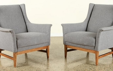 PAIR FRENCH MID CENTURY MODERN LOUNGE CHAIRS 1950