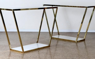 PAIR ITALIAN BRASS CONSOLE TABLES MARBLE TOP