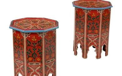 Painted Moroccan Style Tables - Pair