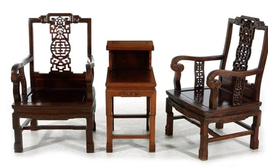 Pair Chinese carved hardwood armchairs and table (3pcs)