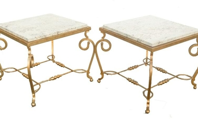 Pair Gilt Bronze & Travertine End Tables