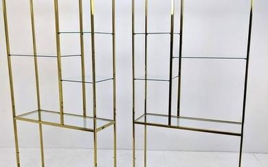 Pair Milo Baughman Style Brass and Glass Etagere Shelve