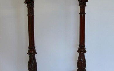 Pair Of Carved Mahogany Pedestals With Brass