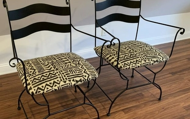 Pair Wrought Iron Bistro Style Arm Chairs