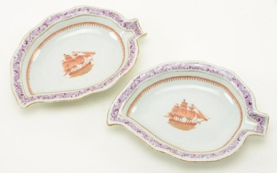Pair of Chinese Export porcelain leaf shaped dishes