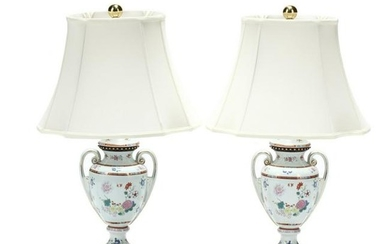 Pair of Continental Porcelain Table Lamps