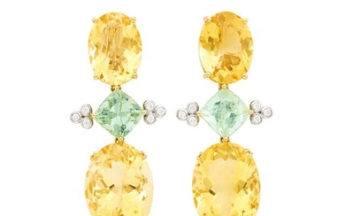 Pair of Gold, Citrine, Tourmaline and Diamond Pendant-Earclips