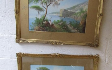 Pair of Italian Views of Naples Gouache Each Signed and cont...