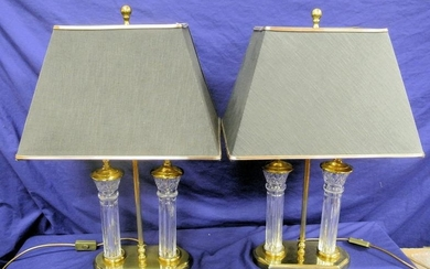 Pair of ornate French style two-light electric lamps with s...