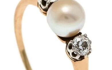 Pearl old cut diamond ring RG / WG 585/000 with a 5 mm