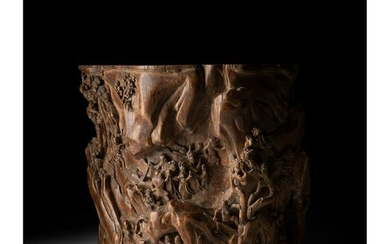 RARE LARGE CARVED AGARWOOD BRUSH POT QING DYNASTY, 18TH