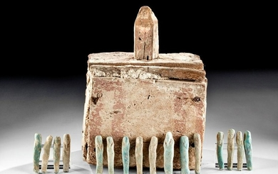 Rare Egyptian Wood Ushabti Box w/ 98 Faience Ushabti