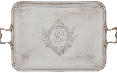 Rectangular silver tray with two handles, moulded with...