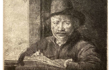 Rembrandt van Rijn (1606-1669) Self-Portrait etching at a Window