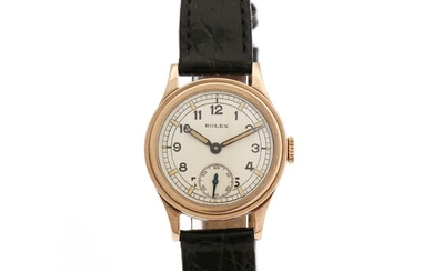 NOT SOLD. Rolex: A lady's wristwatch of 9k gold. Mechanical movement with manual winding. 1940-1950s....