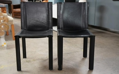 SET OF FOUR MATTEO GRASSI BLACK LEATHER CHAIRS
