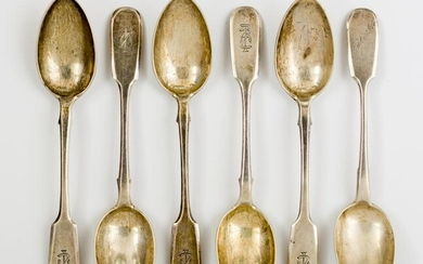 SIX LARGE RUSSIAN SILVER SPOONS, St. Petersburg