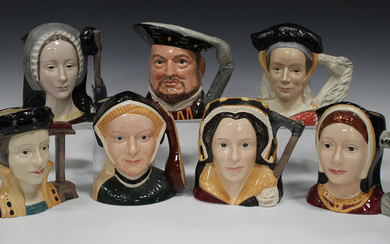 Seven Royal Doulton large character jugs, modelled as Henry VIII and his six wives.