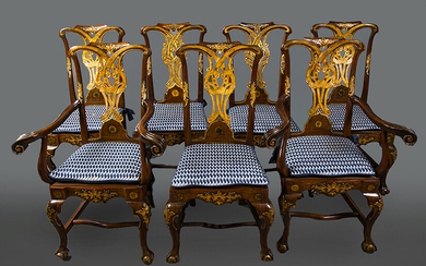 Spanish chairs of Chippendale influence, 18th century with rockeries and carved and gilded details composed of four chairs and two armchairs, plus two similar chairs made later. Height: 101 cm. Exit: 500uros. (83.193 Ptas.)