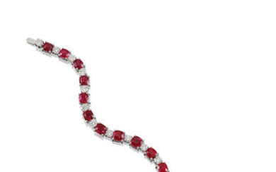 Spinel and Diamond Bracelet with GIA