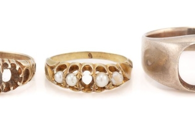 THREE VINTAGE GOLD RING MOUNTS; one approx. 14ct set with four river pearls (1 missing), size M, wt. 2.3g, a 9ct, size K1/2, wt. 3g,...
