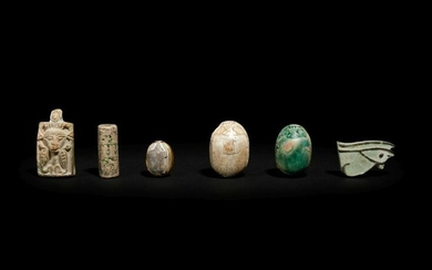 Three Egyptian Steatite and Faience Scarabs Height of