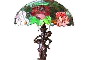 Tiffany-style Stained Glass Roses Table Lamp
