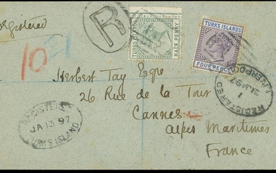 Turks Islands 1897 (13 Jan.) cover registered to Cannes, France franked with ½d. dull green an...