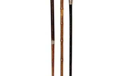 Two English Silver-Mounted Thermometer System Walking