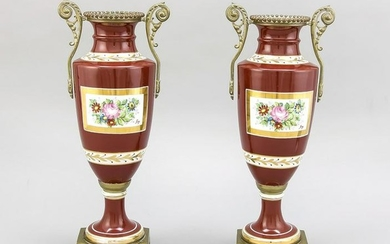 Two antique French porcelain vases with bronze