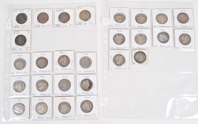 Two sheets of Barber silver half dollars (27).