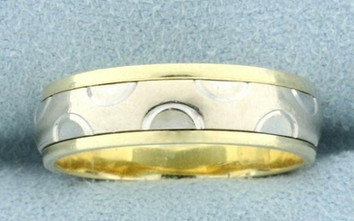Unique Two Tone Band Ring in 14K Yellow and White Gold