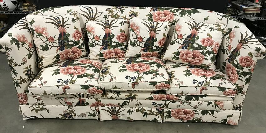 Upholstered Sofa W Throw Pillows