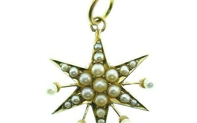 VINTAGE 14k Yellow Gold & Pearl Star Charm Pendant