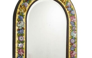 Venetian mirror with polychromatic glass mosaic and