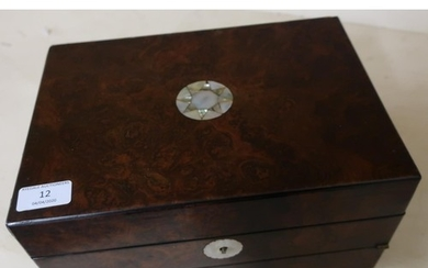 Victorian walnut combination work box and writing slope with...