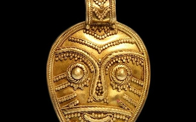 Viking Filigree Gold Pendant with Norse God Head, c.