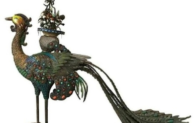 Vintage Chinese Solid Silver and Enameled Peacock on
