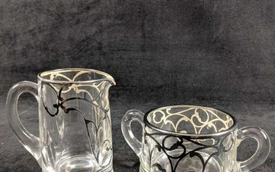 Vintage Glass With Silver Overlay Cream and Sugar Bowl
