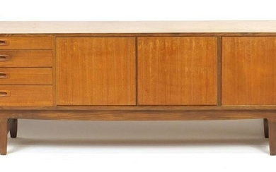Vintage teak sideboard fitted with a fall, pair of