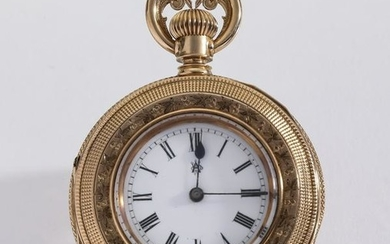 Waltham 14k rose gold pendant watch, c. 1900