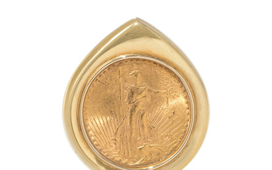 YELLOW GOLD AND US $20 LIBERTY COIN SLIDE PENDANT