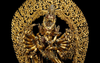 An exceptionally rare large gilt copper-alloy group of Vajrabhairava and Vajravetali