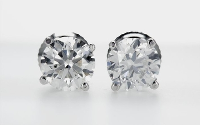 14 kt. White gold - Earrings - 2.03 ct Diamond